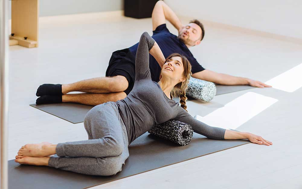 Pilates session in action image of